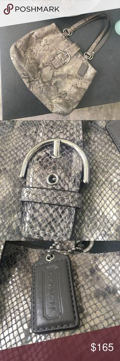 """Coach Snakeskin Carryall Bag Gorgeous Coach Soho Python Carryall bag! 100% Authentic - Lot's room -  Luxurious python embossed leather.  Magnetic flap over snap closure & leather hang tag.  Double straps with 10"""" drop - black satin lining.  3 compartment interior with large center divide zip pocket,   2 slip pockets in front compartment & zipper pocket in back. Excellent used condition. Coach Bags"""