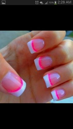 White tips hot pink nails