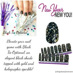 Colorstreet Nails Perfect for a classy affair or New Years Black Tie Optional, Fail Nails, Street Game, New Year's Nails, Nail Games, Nail Polish Strips, Color Street Nails, Accent Nails, Black Nails