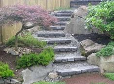 These paver and rock steps wind artfully up a boulder terraced slope landscaped with junipers and a japanese maple. will try this along my dry creek in summer Landscaping A Slope, Landscaping Retaining Walls, Landscaping With Rocks, Landscaping Ideas, Backyard Ideas, Fence Ideas, Flagstone Pathway, Modern Landscaping, Walkways