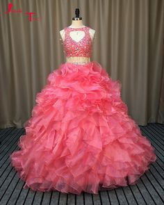 Jark Tozr Custom Made Vestidos De 15 Shiny Crystal Two Pieces Princess Ball  Gown Quinceanera Dresses 937ac3dce86f