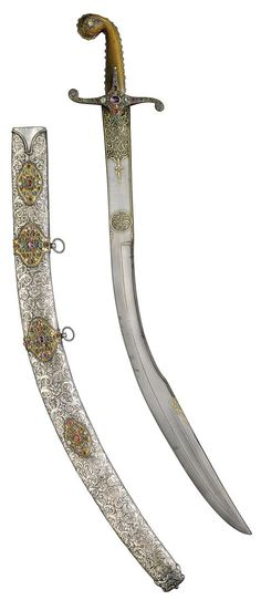 Ottoman jewelled presentation sword (kilij) with watered-steel blade and scabbard, Turkey, 18th/19th century | Lot | Sotheby's