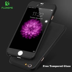 FLOVEME Case For iPhone 6 6s Hard PC Free Tempered Glass Film Case For iPhone 7 Plus iPhone 6 6s Plus 360 Degree Full Protector #Affiliate