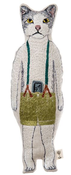 Coral and Tusk - kitty pocket doll illustration contemporary embroidery textile tapestry art