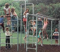metal jungle gym :) no plastic here. I used to be able to spin around and around on the horizontal bar on our school playground, which was over concrete! In fact the entire playground was metal and concrete! Those Were The Days, The Good Old Days, Nostalgia, Childhood Toys, Childhood Memories, Tennessee Williams, Karate Kid, Back In The 90s, Jungle Gym