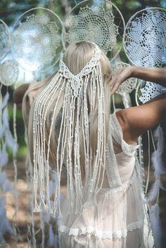 wedding veil crystal veil juliet cap veil juliet by veiledbeauty Macrame Headband, Headband Veil, Bridal Hairpiece, Macrame Design, Macrame Art, Wedding Veils, Boho Wedding Dress, Wedding Beach, Hair Wedding