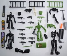 STIKFAS Military Action Figure Lot Alpha Weapons Guns Boards Ladders #Stikfas