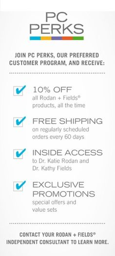 PC Perks is the most cost effective way to buy Rodan+Fields. Let's chat about it to save you up to 30% dcioffre.myrandf.com