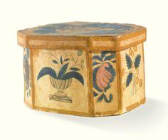 RARE WATERCOLOR TRINKET BOX NEW ENGLAND, 1820-1830