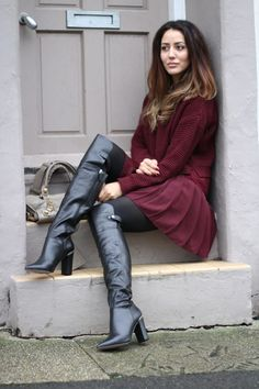 OTK boots black pantyhose maroon pleated skirt and sweater outfit (burgundy thigh high boots outfit) Thigh High Boots, High Heel Boots, Over The Knee Boots, Heeled Boots, Sexy Boots, Cool Boots, Black Boots, Burgundy Fashion, Burgundy Dress