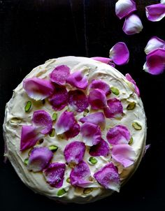 Persian love cake- With enchanting ingredients like cardamom, rose water, rose petals, saffron and whipped cream.I wanna bake this persian love cake for my persian love cake Food Cakes, Cupcake Cakes, Café Chocolate, Cake Recipes, Dessert Recipes, Flower Food, Love Cake, Let Them Eat Cake, Beautiful Cakes