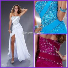 Wholesale Prom Dresses - Buy Hot Sale 2014 Modern Sexy Sheath Column Strapless Floor Length Side-slit Chiffon Pleats Sequins Beading Cheap Gowns White Prom Dresses YP-5, $129.0 | DHgate