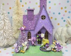 Excited to share the latest addition to my shop: Easter Putz Orchid (Medium)with Easter Basket and Chick OOAK Easter Crafts, Crafts For Kids, Easter Decor, Easter Projects, Como Hacer Royal Icing, Biscuit, Christmas Home, Christmas Ornaments, Christmas Villages