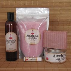 Harry Potter Amortentia Love Potion Gift Set - All Natural Lip Balm, Shea Butter Soap and Bubble Bath by CherryPitCrafts on Etsy