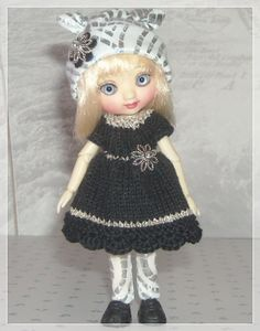 Amelia Thimble Dolls Black and Silver Dress by JCsTinyTreasures