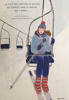 Ski illustration kanako : télé siège neige montagne
