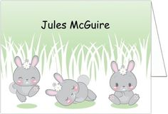 """Baby Thank You Cards: This fold-over note card, """" #Honey #Bunnies"""" features three adorable bunnies in different cute poses - hopping with joy, sleeping peacefully,..."""