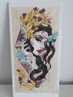 Hand painted ceramic tile, 40 x 20 cm, baked