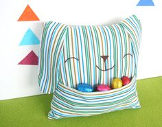 Easter Bunny Pillow  with Pouch