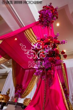Suhaag Garden Indian Wedding Decorator, California Indian Wedding Decorator, San Fransisco Indian Wedding Decorator, Florida Indian Wedding Decorator, Decoration Vendors, Mandap, Fabric Mandap, Fuchsia and Gold Sequin, Glitter, Gold Candelabras