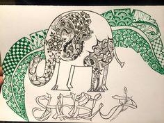 Zentangle Elephant, Feather, Shelby, Ribbon font name. Beautiful way to write a name.