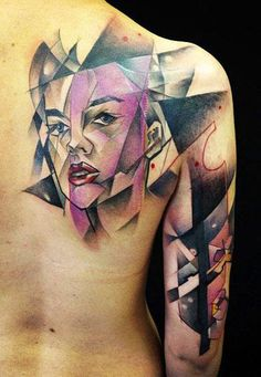 Abstract Face Tattoo by Marie Kraus - http://worldtattoosgallery.com/abstract-face-tattoo-by-marie-kraus-3/
