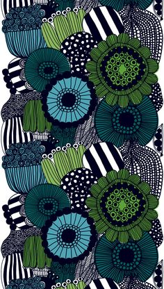 The Siirtolapuutarha from Marimekko Vancouver is a unique fashion item. Marimekko Vancouver carries a variety of printed fabric and other Fabric items. Motifs Textiles, Textile Patterns, Textile Design, Fabric Design, Print Patterns, Zentangle Patterns, Zentangles, Illustration Arte, Garden Illustration