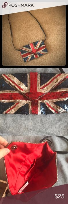 NWOT Sequin Union Jack purse Sparkly Union Jack purse  - never used   - smoke free, pet free home   - red lining with one pocket  - strap probably isn't long enough for crossbody Bags Clutches & Wristlets