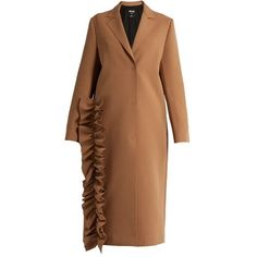 MSGM Ruffled single-breasted crepe trench coat ($521) ❤ liked on Polyvore featuring outerwear, coats, camel, ruffle trench coat, camel coat, brown trench coat, trench coat and single-breasted trench coats