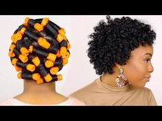 HOW TO | Perm Rod Set on Short Natural Hair Tutorial & Night Time Hair Routine!! - YouTube