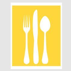 morning breakfast spoon fork knife utensils illustration paper print in sunshine yellow and white. $10.00, via Etsy.