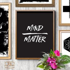Mind matter black and white office decor cubicle decor college decor wall hanging motivational poster mind over matter workspace decor