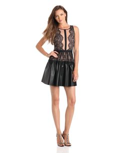 BCBGMAXAZRIA Women's Layton Lace Dress with Faux Leather Sk, Black, 10. Faux leather skirt with lace peplum detail. Rounded neckline. Sleeveless.