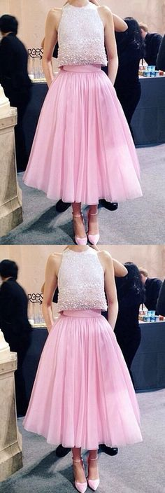 Two Pieces Pink Tulle Homecoming Dresses, Modest Sheer Appliqued Beaded Short Prom Dress HCD46Short Prom Dresses, Homecoming Dresses, Prom Gowns, Party Dresses, Graduation Dresses, Short Prom Dresses, Gowns Prom, Cheap Prom Gowns on Line