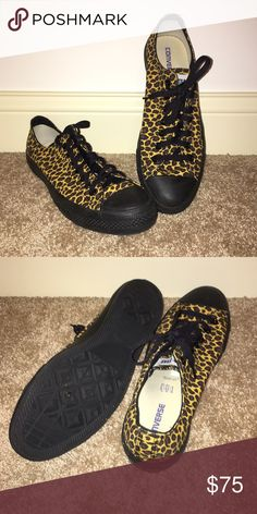 LEOPARD CONVERSE Custom designed on their website , these are not sold anywhere , black and leopard converse low tops , mens 10.5, women's 12.5 - almost never worn or any damage, make an offer! Converse runs big and you can only get their half sizes online, i am a mens 11 and these fit me fine Converse Shoes Sneakers