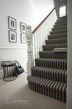 Idea: striped carpet on stairs; Having a different carpet for the staircase adds simple interest to a hallway Carpet Staircase, Hallway Carpet, Striped Carpets, Hallway Decorating, Decorating Ideas, Decor Ideas, Hallway Inspiration, House Stairs, My New Room