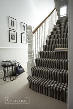 Cormar's Avebury range.  Colour Salisbury Stripe.  Choose Avebury's plain Kennet Grey or Woodborough Peat for a perfect match.  Approx retail price: £39 sq.m.  Plain: 4 & 5m wide / Stripe: 4m wide. (Pattern repeat: approx. 5cm).