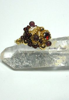 Garnet & Pearl Wire Wrapped Freeform by AussenWolfDesigns on Etsy, $32.00