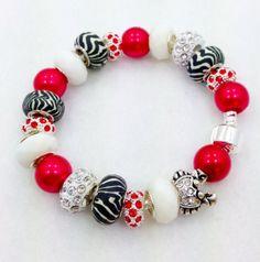 Zebra Rhinestone Ocean Crab European style bracelet by Graceandliz, $15.00