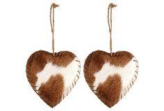 S/2 Cowhide Heart Ornaments on OneKingsLane.com