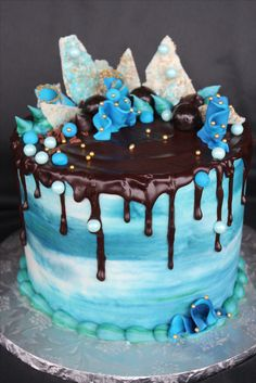 Drip Cake - Blue Buttercream with Ganache.
