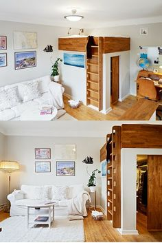 Walk-in closet + Bed + Living area ---- love this idea for the kids' rooms