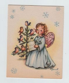 Ruth Jeaneret Angel Singing With Bluebirds ~ Vintage Christmas Greeting Card Christmas Card Images, Christmas Past, Vintage Christmas Cards, Retro Christmas, Vintage Holiday, Christmas Angels, Christmas Greetings, Christmas Things, Xmas Greeting Cards