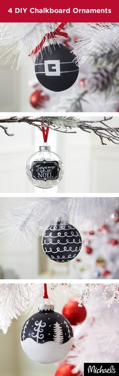 Creating a DIY ornament is easier than ever with chalkboard shatterproof ornaments. Use a chalk marker and decorate as desired for a handmade addition to your holiday tree. Find both the ornaments and chalk markers at your local Michaels store. Christmas Ornaments To Make, Rustic Christmas, Christmas Projects, All Things Christmas, Winter Christmas, Christmas Holidays, Christmas Decorations, Wood Ornaments, Christmas Recipes