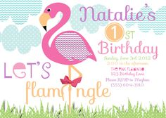 Let's Mingle Flamingo (20 printed 5x7 with glitter). $40.00, via Etsy.