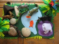 Felt play mats for kids to use with their toys. You could make them for GI Joes, Barbies, plastic soldiers, dinosaurs...