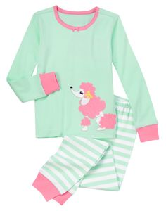 Playful two-piece pajama set features a stylish appliquéd poodle. Contrast picot trim brightens the cotton rib top, while striped bottom with ribbed cuffs easily pulls on for comfort. (Gymboree 3-12y)