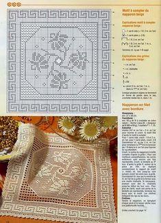 "Photo from album ""Elena Crochet D'Art on Yandex. Crochet Edging Patterns, Filet Crochet Charts, Cross Stitch Patterns, Crochet Designs, Embroidery Patterns, Crochet Table Runner, Crochet Tablecloth, Crochet Doilies, Crochet Squares"