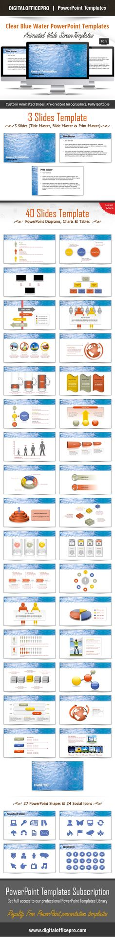 Leaf PowerPoint Template Backgrounds Shape, Set of and Leaves - water powerpoint template