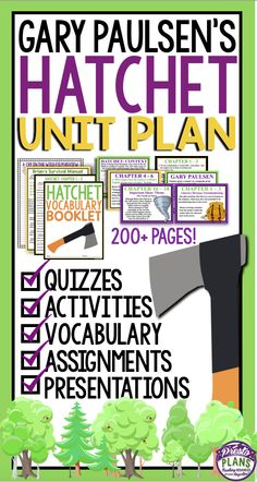 Hatchet by Gary Paulsen will be a breeze to teach with this ready-to-use unit plan that has everything you will need to teach the award-winning novel. With over 200 pages/slides of eye-catching PowerPoint presentations, printable assignments, questions, vocabulary, and interactive class activities, you will have everything you need to teach Hatchet to your students in a fun and engaging way!